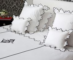Julia B. Calais Bedding Collection in White Percale with Black Embroidery