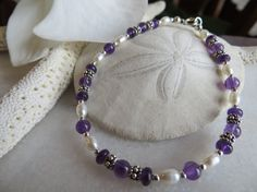 Bernadette's amethyst bracelet with pearls and by Inspiredby10