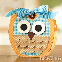 An Owl Treat Tote by Jen del Muro (featured in Paper Craft Magazine's 350 Cards & Gifts) using cutting files designed by Lori Whitlock.