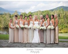 Love the look of different dresses, but all in the same color palette.