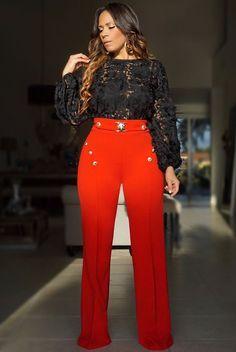 Lion Buckle High Waist Pants W/ Gold Button Details - Red Zoey Lion Buckle High Waist Pants W/ Gold Button Details - RedZoey Lion Buckle High Waist Pants W/ Gold Button Details - Red Chic Outfits, Fashion Outfits, Womens Fashion, Blazer Outfits, Fashion 2018, Dress Fashion, Fall Outfits, High Fashion Models, Red Cocktail Dress