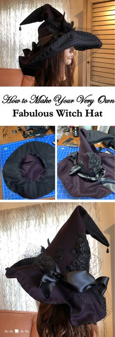 Homemade Witch Costume, Kids Witch Costume, Halloween Witch Hat, Holidays Halloween, Halloween Diy, Halloween Decorations, Felt Witch Hat, Diy Witch Hat, Witch Hats