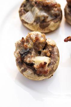 Sausage & Pepper Jack Stuffed Mushrooms | Horses & Heels