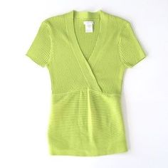 I just discovered this while shopping on Poshmark: Green Ribbed Wrap Blouse. Check it out! Price: $28 Size: L