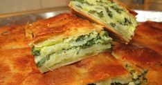 Spanakopita with Handmade Phyllo - Spinach Pie. Turkish Recipes, Greek Recipes, 300 Calorie Lunches, Cookie Dough Pie, Greek Spinach Pie, Greek Pastries, Eat Greek, Savory Muffins, Savoury Baking