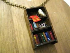 Harry Potter Bookshelf Necklace Book Jewelry by by Coryographies
