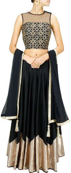 Fabron Black Raw Silk Lehenga, Choli and Dupatta Set        #Black, #RawSilk, #Lehenga