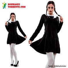 Disfraz Niña Siniestra familia Addams. ¿Quien no recuerda el personaje de Miércoles?; la niña siniestra de la familia addams, interpretado p...