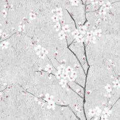 Graham & Brown Sakura Soft Grey  &  White  &  Pink Wallpaper