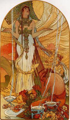 Solammbo, 1896. Astonishingly beautiful Alphonse Mucha art.
