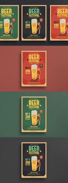 Beer Festival Flyer Template AI, PSD - A4 #unlimiteddownloads