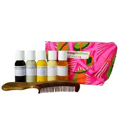 Living Libations Happy Hair Travel Kit is a compact kit with clarifying botanical shampoos and nourishing natural conditioners to revive tresses so you can thrive on the go. It comes with five luscious-locks Libations, a medium wood comb, and a handy-dandy kit bag to pack it all in!  Each kit contains these Libations:      Seabuckthorn Shampoo     Shine On Conditioner     True Blue Spirulina Shampoo     True Blue Spirulina Conditioner     Honey Myrtle Conditioning Mask