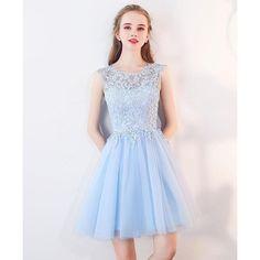 Simple light blue prom dresses short beautiful abikleid a-line baby online wholesale Junior Graduation Dresses, Cute Homecoming Dresses, Grad Dresses, Junior Dresses, Dress Outfits, Prom Dress, Party Dresses, Emo Outfits, Occasion Dresses