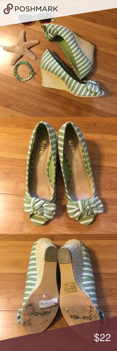 Girly girl see green pretty bow wedges shoes See green and Ivory striped wedges. Rope heal. Adorable about at open toe. Only worn a few times in great shape Restricted Shoes Wedges