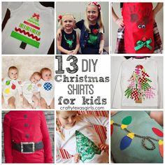 Crafty Texas Girls: DIY Christmas Shirt Ideas for Kids Christmas Shirts For Kids, Kids Christmas, Christmas Sweaters, Merry Christmas, Xmas Shirts, Christmas 2016, Christmas Stuff, Lace Christmas Tree, Diy Christmas Gifts