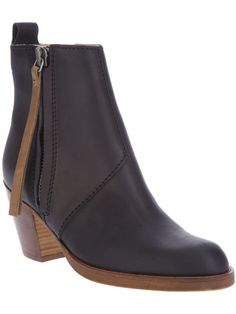 Black leather Pistol ankle boot from Acne featuring a round toe, a high vamp, a side zip fastening, a pull tab at the rear and a chunky mid-heel.