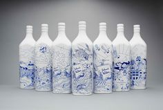Chinese porcelain inspired Johnnie Walker bottles
