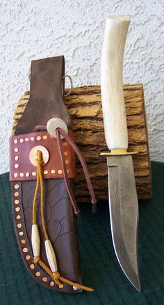 """6 1/2"""" Damascus Bowie Knife with Polished Antler Handled and Custom Leather Sheath"""