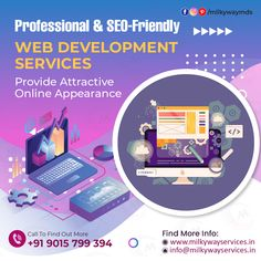 At Milkyway Services, our experienced web developer's team provides professional and SEO-friendly web development services at an affordable price range. We help businesses in designing and developing their online appearance in an attractive way. Call ☎️ at : +91-9015-799-394 . #development #websitedevelopment #webdevelopment #website #websitedesign #webdesign #developer #designing #technology #ecommerce #creative #design #software #softwaredevelopment #startup #business Parallax Website, Creative Design, Web Design, Software Development, Ecommerce, Seo, How To Find Out, Coding, Range