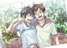 Rin, Yukio, Okumura twins, brothers, smiling, picture, photo; Blue Exorcist