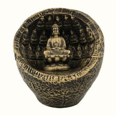 Buddha In A Rock Womb This Spiritually Rich Art Piece Made In Resin, Insistently Portrays The Universal Symbol Of Peace And Love Peace And Love, Wicker, Buddha, Art Pieces, Resin, Symbols, Statue, Rock, Artworks
