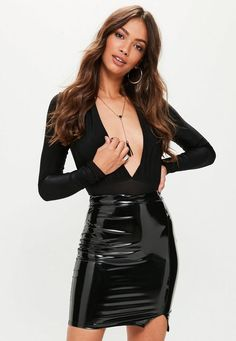 Black mini skirt featuring a high waist style, front split seam, vinyl fabric and bodycon fit. Pvc Skirt, Dress Skirt, Latex Skirt, Vinyl Mini Skirt, Sexy Rock, Vinyl Dress, Vinyl Clothing, Leder Outfits, Denim Mini