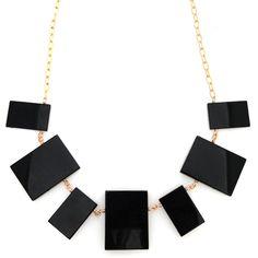 Black onyx rectangle necklace by Jenny Dayco