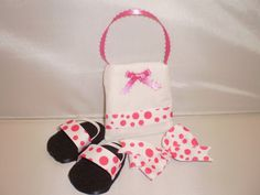 "For my AG loving neice!!!  Missy, such a cute set and so cheap!  18"" American Girl Doll Shoes, Purse and Hairbow pink polka dots. $7.50, via Etsy."