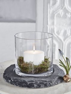 The clarity of this beautiful hand-blown glass hurricane is offset perfectly by the raw hand-cut slate. Indoor Candle Lanterns, Outdoor Candles, Glass Hurricane Lamps, White Centerpiece, Candle Centerpieces, Wedding Centerpieces, Garden Candles, Metal Candle Holders, Deco Table