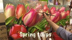 Spring Tulips. Workshop with two canvas.Workshop  in English from Oleg B...