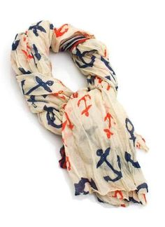 anchors ⚓ i need an anchor scarf people Anchor Scarf, Moderne Outfits, Cute Scarfs, Anchor Print, Nautical Fashion, Nautical Style, Nautical Anchor, Nautical Theme, Mode Inspiration