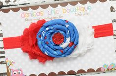 Fourth of July double shabby headband Red/White with a blue rosette center embellishment <3 $11.25 plus shipping.  Made by Danica's Chic Bowtique.