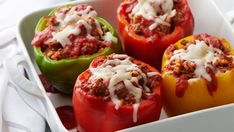These classic vegan stuffed peppers are as delicious as they are pretty. Whether you are making a fancy dinner or prepping easy weeknight meals these stuff peppers are the answer! Mini Hamburgers, Cheeseburgers, Halloumi, All You Need Is, Lunch Boxe, Healthy Snacks, Healthy Recipes, Healthy Sides, Dinner With Ground Beef