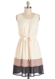 Band in Line Dress. Waiting to order a macchiato is a pleasure since you look so pretty in the mauve-lilac and navy-blue bands that stripe your latt-toned dress. #creamNaN