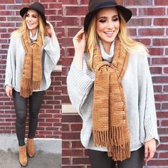 Leggings oversized sweaters and blanket scarves! Yes please!  outfit available at both locations #shopamelias