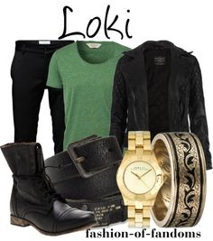 Yet another Loki outfit. Casual enough to just wear Marvel Inspired Outfits, Character Inspired Outfits, Nerd Fashion, Fandom Fashion, Punk Fashion, Lolita Fashion, Fashion Boots, Casual Cosplay, Cosplay Outfits