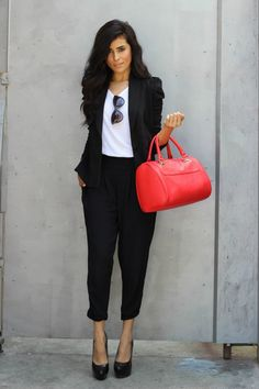 Black blazer, slacks and a plain white t-shirt makes a casual look for work