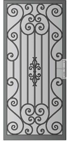 Security Screen Doors Archives - Whiting Iron and Great Gates in Phoenix AZ Grill Gate Design, Steel Gate Design, Iron Gate Design, Window Grill Design, Wrought Iron Security Doors, Wrought Iron Doors, Door Grill, Metal Gates, Steel Doors