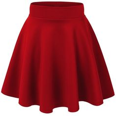 MBJ Womens Basic Versatile Stretchy Flared Skater Skirt ($6.89) ❤ liked on Polyvore featuring skirts, red skirt, stretchy skirts, red circle skirt, skater skirt and stretch skirt