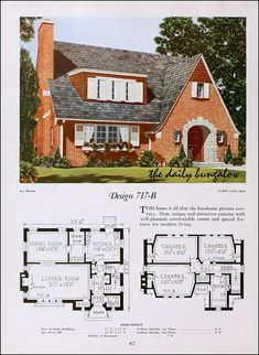 The Daily Bungalow Tudor House, Victorian House Plans, Vintage House Plans, Vintage Homes, Sims House Plans, Small House Plans, House Floor Plans, Bungalows, Style At Home