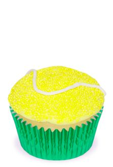 Tennis Ball Cupcakes- I should do this for my open house!