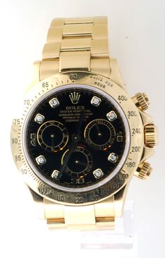 - Item number: 116528 - Brand: Rolex - Style Number: 116528 - Series: Daytona - Style: Mens - Case Material: 18kt Yellow Gold - Dial Color: Factory black diamond dial - Watch Bracelet / Strap: 18kt Ye