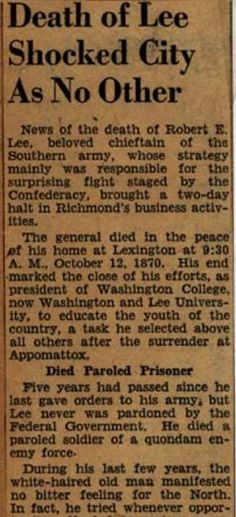 Death notice of General Robert E. Lee, published in the Richmond Enquirer, October, History Facts, World History, American Civil War, American History, Robert E Lee, Southern Heritage, Confederate States Of America, Military History, Military Art