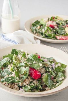 #Recipe: Collard Green Salad with Strawberries & Tahini Dressing