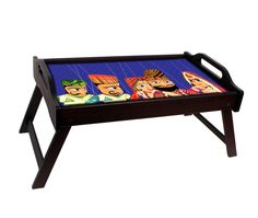 #TheRingmaster Breakfast Tray - Band baja barati (Blue) Indians are boisterous, colourful and have a flair for drama! This beloved designer breakfast tray from Ringmaster features whimsical and colourful string puppets decked in traditional Indian attire. Spend lazy Sunday mornings eating breakfast in bed and making up stories about what the drama between them could be. These durable, sturdy wooden trays are built for years and years of faithful service.