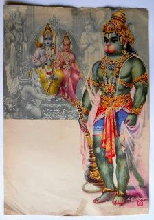 India Vintage Calendar Print Hindu God Rama Sita with Bhakta Hanuman Hanuman Photos, Hanuman Images, Durga Images, Lord Krishna Images, Saraswati Goddess, Shiva Shakti, Kali Hindu, Hindu Art, Lord Shiva Statue