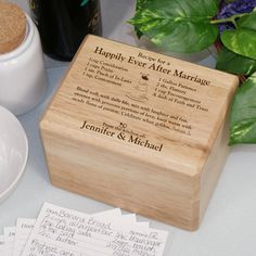 Recipe Box - Engraved Happily Ever After Recipe Boxes - this would be a cute shower idea, bigger box, and on invitations to shower guests, ask them to bring a couple of their favorite recipes on one specific size - or tell them also that they can recopy it on to the proper size card at the shower