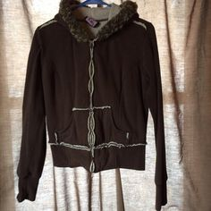 Brown jacket(must bundle 2 items) Brown fuzzy jacket. Discoloration on the zipper shown in picture 2. Says medium but fits small. Jackets & Coats