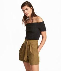 Black. Short, off-the-shoulder top in crinkled jersey with short sleeves and overlocked edges.