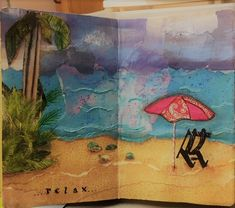 Day at the beach mixed media collage.